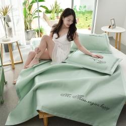 炫拼家纺 新款刺绣凉席三件套 纯色冰丝席 软席 空调席 浅绿