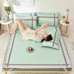 炫拼家纺 爆款凉席三件套 纯色冰丝席 软席织带运动款空调席