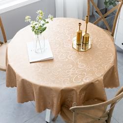 欧式防水防油防烫免洗桌布酒店饭店家用圆形大圆桌餐桌布台布布艺