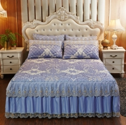 乐朵 2019新品 蕾丝床裙 凉席夹棉床裙三件套