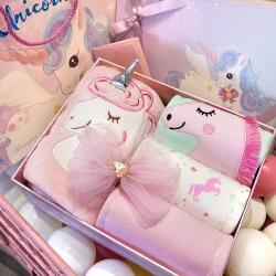 梦幻岛品质家居 纯棉独角兽公主短袖新生儿满月周岁套装礼盒