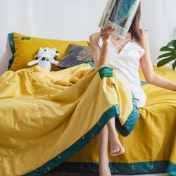 (总)风向标家纺新款40s撞色宽边夏被+夏被四件套印象梵高黄