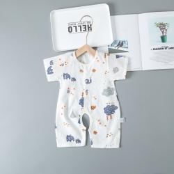 婴儿双层纱布开裆宝宝哈衣新生儿全棉爬服夏薄款短袖连体纽扣睡衣