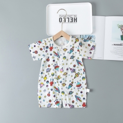 嬰兒雙層紗布寶寶分腿哈衣新生兒純棉紐扣爬服夏薄款短袖連體睡衣