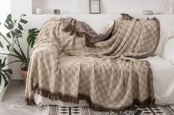 流苏竹纤维盖毯北欧宜家ab版多功能休闲毯流苏毯