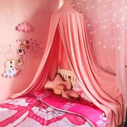 床幔北欧遮光床帘蚊帐吊顶卧室装饰床幔圆顶遮光蚊帐儿童帐篷游戏