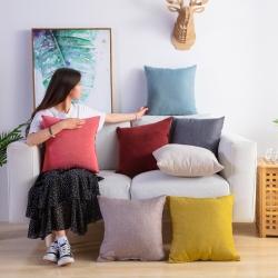 厂家批发纯色棉麻布艺抱枕沙发靠背靠垫汽车抱枕套含芯定制尺寸