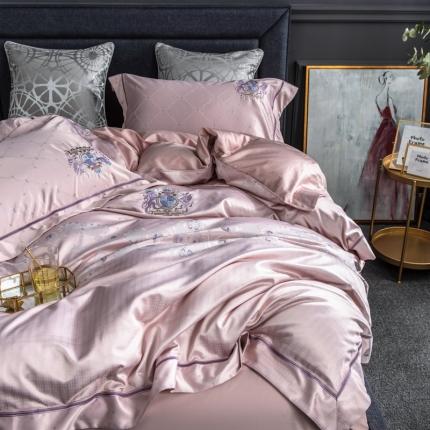 品乐 80支提花刺绣长绒棉纯全棉四件套 米瑞特斯-粉紫