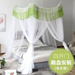 免安裝方頂蚊帳老式公主吊頂床幔家用1.5/1.8米紋賬INS