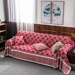 老粗布沙发巾布蕾丝沙发套罩全包大红色婚庆四季通用沙发盖布