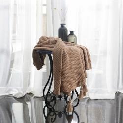 颜初家居 2019新款纯棉菠萝格毯针织毯毛线毯搭毯驼