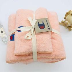 冠军Champion原单珊瑚绒刺绣秒吸水纯色毛巾浴巾套装