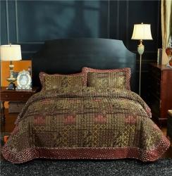 (总)金龙家纺 工艺款地中海风格棉麻床盖三件套跨境精品