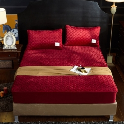 (總)金龍家紡 純色水晶絨夾棉床笠可選配枕套