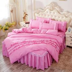 欧式床裙四件套夹棉蕾丝边梦幻之露图片qq群466053614