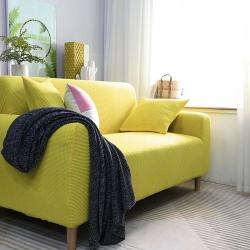 2019新款高端金粒绒品质沙发套全包万能套沙发垫沙发巾柠檬黄