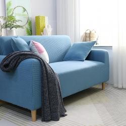 2019新款高端金粒絨品質沙發套全包萬能套沙發墊沙發巾西湖藍