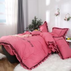網紅爆款 韓版公主風蕾絲花邊刺繡純色四件套 水洗棉四件套