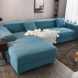 2019新款高端金粒絨沙發套全包萬能沙發墊組合L型貴妃西湖藍