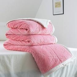 朵绒家纺 2019贝贝绒雕花毯 珊瑚绒毯 毛毯 盖毯子 雪花