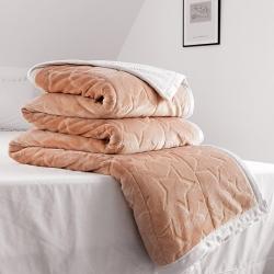 朵绒家纺 贝贝绒雕花毯 珊瑚绒毯 毛毯 盖毯子 五星