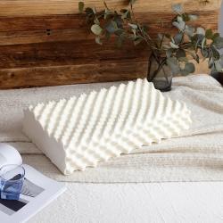睡趣 天然乳胶枕头狼牙乳胶枕曲线波浪枕芯按摩颗粒枕带内外枕套