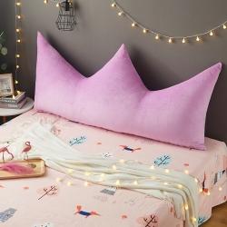 2019新款纯色皇冠水晶绒靠背床头靠垫靠枕