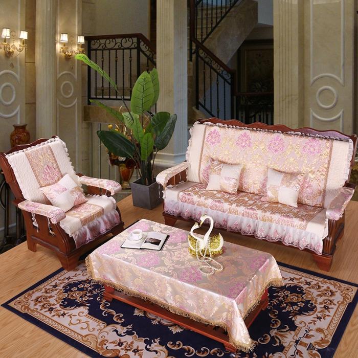 2019雪尼爾新款木沙發坐墊帶靠背連體加厚可拆卸海綿墊