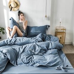 总-ins亲肤水洗棉四件套蝴蝶结刺绣纯色网红床单被套床上用品