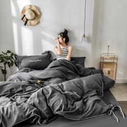 ins親膚水洗棉四件套蝴蝶結刺繡純色簡約網紅床單被套床上用品