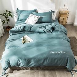 ins亲肤水洗棉四件套蝴蝶结刺绣纯色简约网红床单被套床上用品