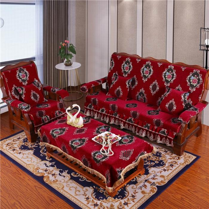 2019新款雪尼爾提花中式木質沙發墊木沙發海綿墊