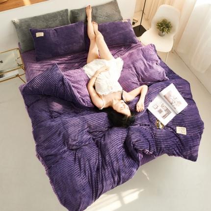 懒猫家纺 2020新款法莱绒水晶绒魔法绒四件套 薰衣紫