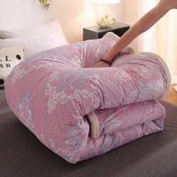 (总)被套毯6D雕花绒可脱卸拆洗被子羊羔绒冬被魔法绒被芯法莱