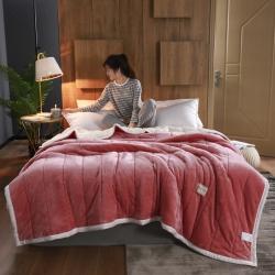 (總)秋冬新款三層夾棉法萊絨毯羊羔絨毯子雙冬季保暖雙層多規格