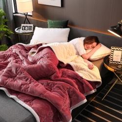 【四季備貨】雙層法蘭絨毛毯拉舍爾毛毯被子復合毯子床單床蓋床裙