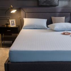 麗芙秋冬新款全棉提花毛巾布防水單床笠三件套A類格子-淺藍