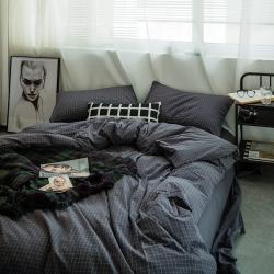 蜗牛世家色织全棉水洗棉四件套床单床笠二款