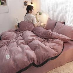 (總)魅色2019加厚寬邊工藝水晶絨寶寶絨珊瑚絨四件套床單款