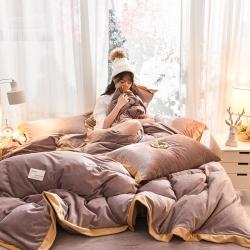 (总)首尔家纺新款水晶绒金边款四件套宝宝绒牛奶绒四件套