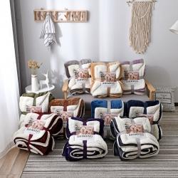 (總)制夢家紡羊羔絨毛毯冬季雙層加厚法萊絨蓋毯午睡休閑毯子