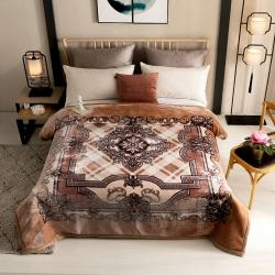 (總)慕莎加厚雙層復合云毯中式拉舍爾毛毯保暖毯子毛毯被