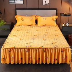 (蘿卜)冬季保暖法蘭絨夾棉床裙法萊絨床罩