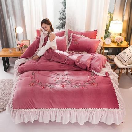 (总)摩妮卡 2019新款蕾丝刺绣水晶绒宝宝绒四件套床笠款