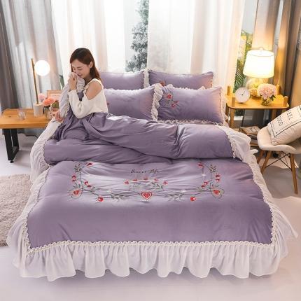 摩妮卡 2019新款蕾丝刺绣水晶绒宝宝绒四件套甜心公主-浅紫