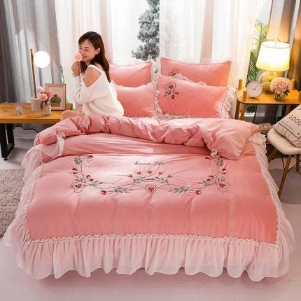 摩妮卡 2019新款蕾丝刺绣水晶绒宝宝绒四件套甜心公主-玉色