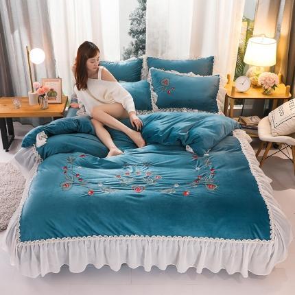 摩妮卡 2019新款蕾丝刺绣水晶绒宝宝绒四件套甜心公主-棕蓝