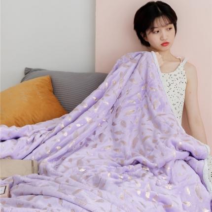 雪兔绒烫金毛毯被子绒毯子加厚双层法兰绒毯 单双人午休沙发盖毯
