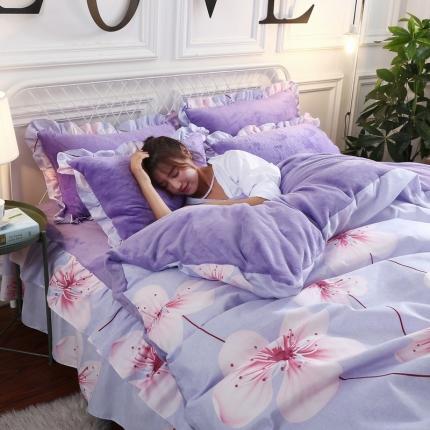 (总)19年韩版床裙式棉+法莱绒四件套 水晶绒四件套