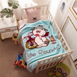 倍美毯業 2019新款卡通兒童蓋毯幼兒園毛毯 兔子-藍